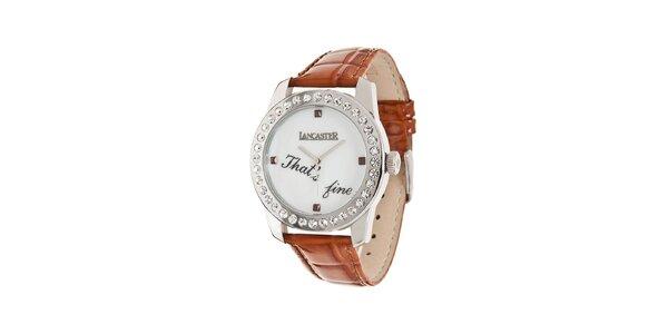Dámské ocelové hodinky Lancaster s kamínky a hnědým koženým řemínkem