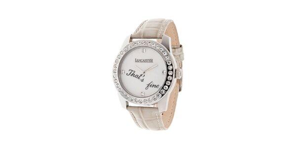 Dámské ocelové hodinky Lancaster s kamínky a bílým koženým řemínkem