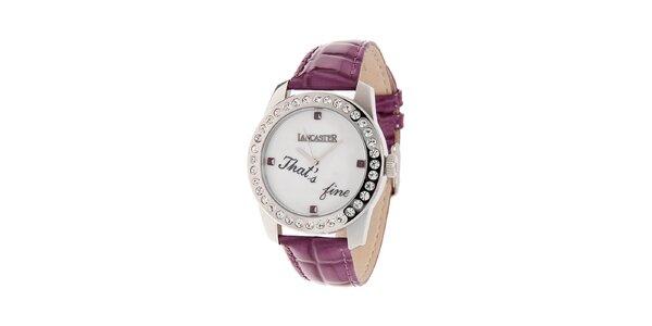 Dámské ocelové hodinky Lancaster s kamínky a fialovým koženým řemínkem