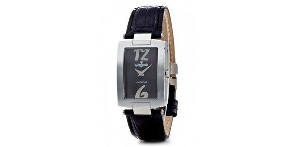 Dámské ocelové hodinky Lancaster s černým koženým řemínkem