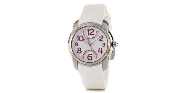 Dámské ocelové náramkové hodinky Lancaster s bílým silikonovým řemínkem a…
