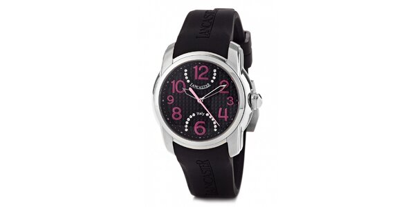 Dámské náramkové hodinky Lancaster s černým silikonovým řemínkem a kamínky