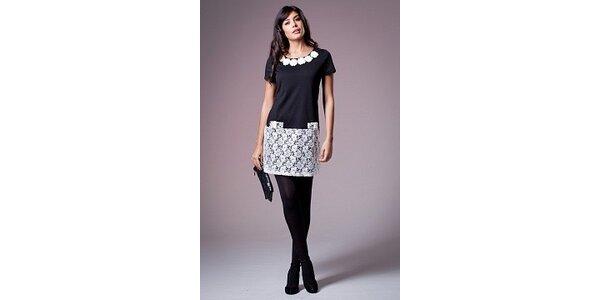 Dámské černé šaty Ada Gatti s bílou krajkou