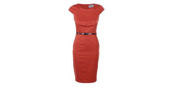 Dámské oranžové pouzdrové šaty Estella