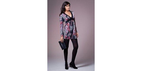 Dámské černé šaty Ada Gatti s pestrobarevným potiskem