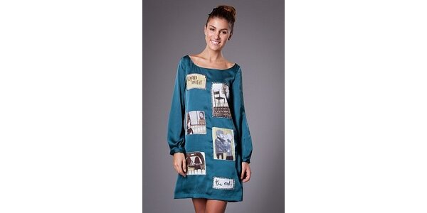 Dámské tyrkysové saténové šaty ByLu s potiskem
