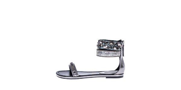 Dámské stříbrné sandálky s kamínky a flitry Roberto Botella