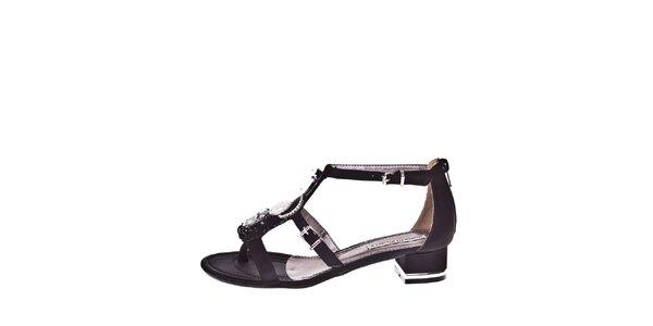 Dámské černé sandálky s ozdobou Roberto Botella