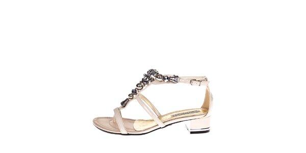 Dámské krémové sandálky s ozdobou Roberto Botella