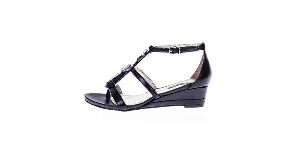 Dámské černé lesklé sandálky s ozdobou Roberto Botella