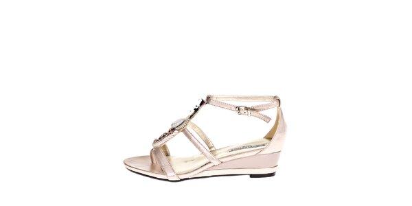 Dámské zlaté sandálky s ozdobou Roberto Botella