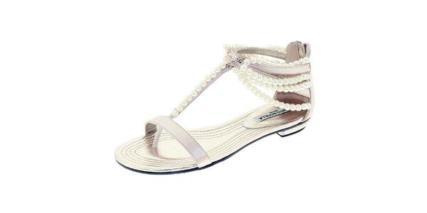 Dámské lesklé sandálky s perličkami Roberto Botella
