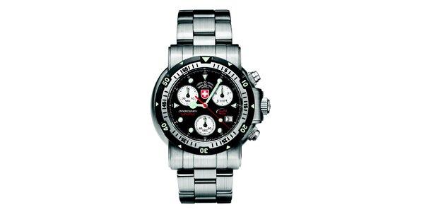 Pánské ocelové hodinky s chronografem a černým ciferníkem Swiss Military