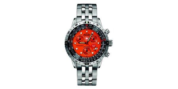 Pánské stříbrné hodinky s chronografem a oranžovým ciferníkem Swiss Military