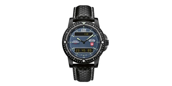 Pánské černé analogo-digitální hodinky s modrým ciferníkem Swiss Military