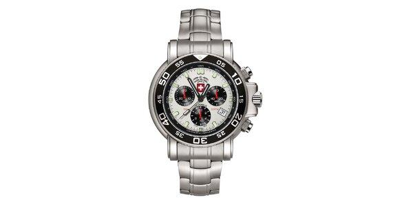 Pánské stříbrné hodinky s chronografem Swiss Military