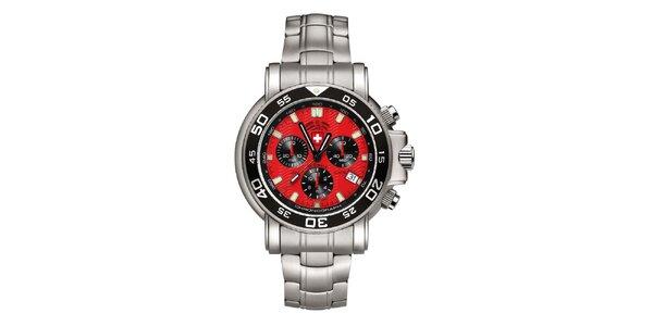 Pánské stříbrné hodinky s chronografem a červeným ciferníkem Swiss Military