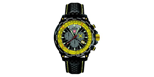Pánské černé hodinky s chronografem a žlutými prvky Swiss Military