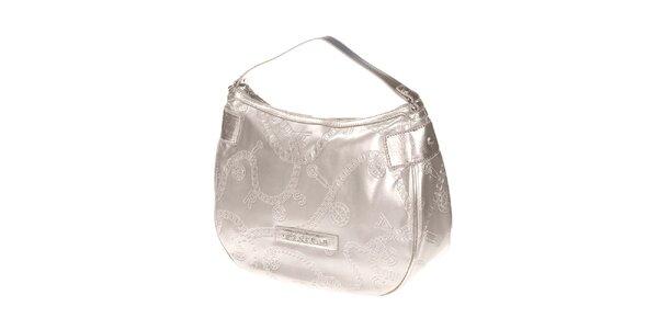 Dámská světle stříbrná kabelka s reliéfním povrchem Versace Jeans