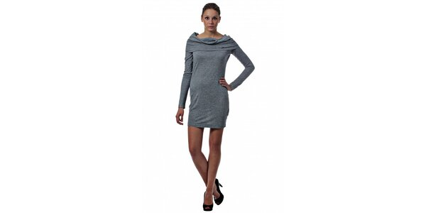 Dámské světle šedé úpletové šaty Miss Sixty s límcem