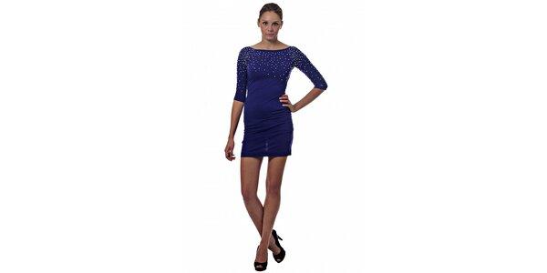 Dámské tmavě modré mini šaty Miss Sixty s kovovými korálky