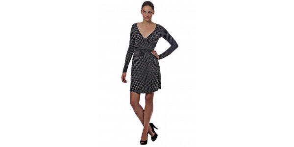 Dámské tmavě šedé puntíkované šaty Miss Sixty