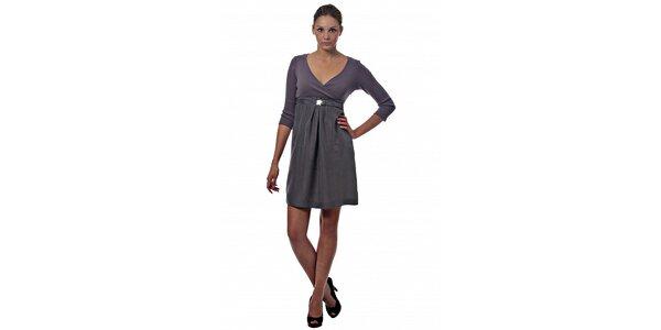 Dámské šedo-fialové hedvábné šaty Miss Sixty