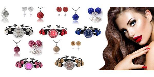 Souprava šperků s hodinkami, náušnicemi a náhrdelníkem s řetízkem