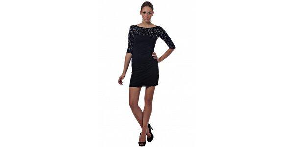 Dámské černé mini šaty Miss Sixty s kovovými korálky