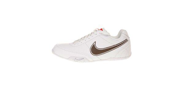 Pánské bílé tenisky Nike T77 Lite s hnědým logem