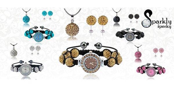 Hodinky, náušnice a náhrdelník s krystaly