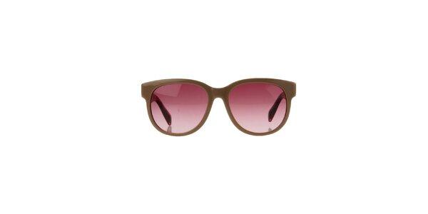 Unisex béžové sluneční brýle s žíhanými stranicemi Marc by Marc Jacobs