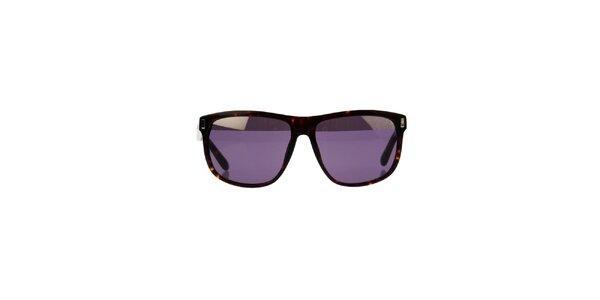 Unisex žíhané sluneční brýle Marc by Marc Jacobs s fialovými sklíčky