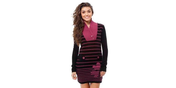 Dámské černo-růžové proužkované šaty Avispada s trojlístky