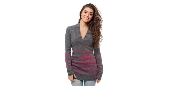Dámský šedo-růžový svetr Avispada s trojlístkem
