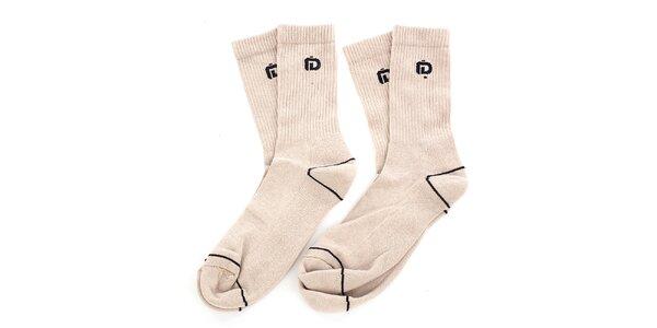 Pánské béžové ponožky s černými detaily Fundango - 2 páry