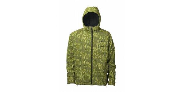 Pánská limetkově zelená softshellová bunda Fundago s černým potiskem