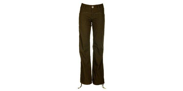 Dámské khaki kalhoty s výšivkou Fundango