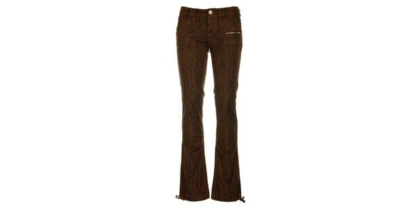 Dámské hnědé kalhoty Fundango s černým potiskem