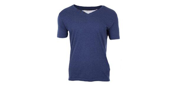Pánské modré tričko s bílou vsadkou Big Star