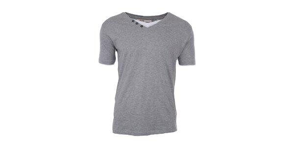 Pánské šedé tričko s bílou vsadkou Big Star