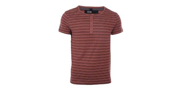 Pánské cihlově červené tričko s proužky Big Star