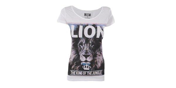 Dámské bílé tričko s potiskem lva Big Star