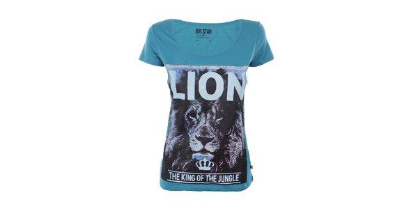 Dámské tyrkysové tričko s potiskem lva Big Star