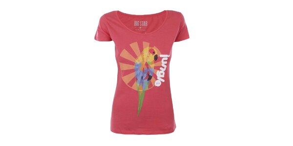 Dámské tričko s potiskem papouška Big Star