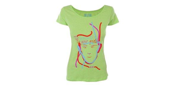 Dámské zářivě zelené tričko s barevným potiskem Big Star