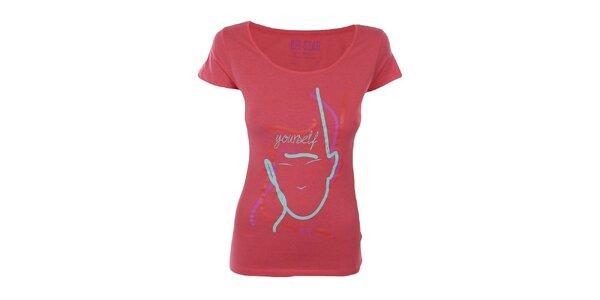Dámské růžovočervené tričko s barevným potiskem Big Star