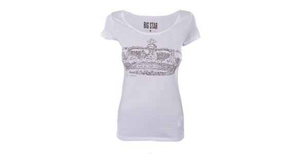 Dámské bílé tričko s potiskem koruny Big Star