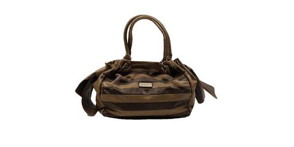 Dámská hnědo-okrová pruhovaná kabelka Pierre Cardin