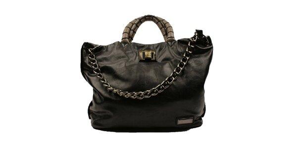 Dámská černá kabelka s kovovým řetězem Pierre Cardin